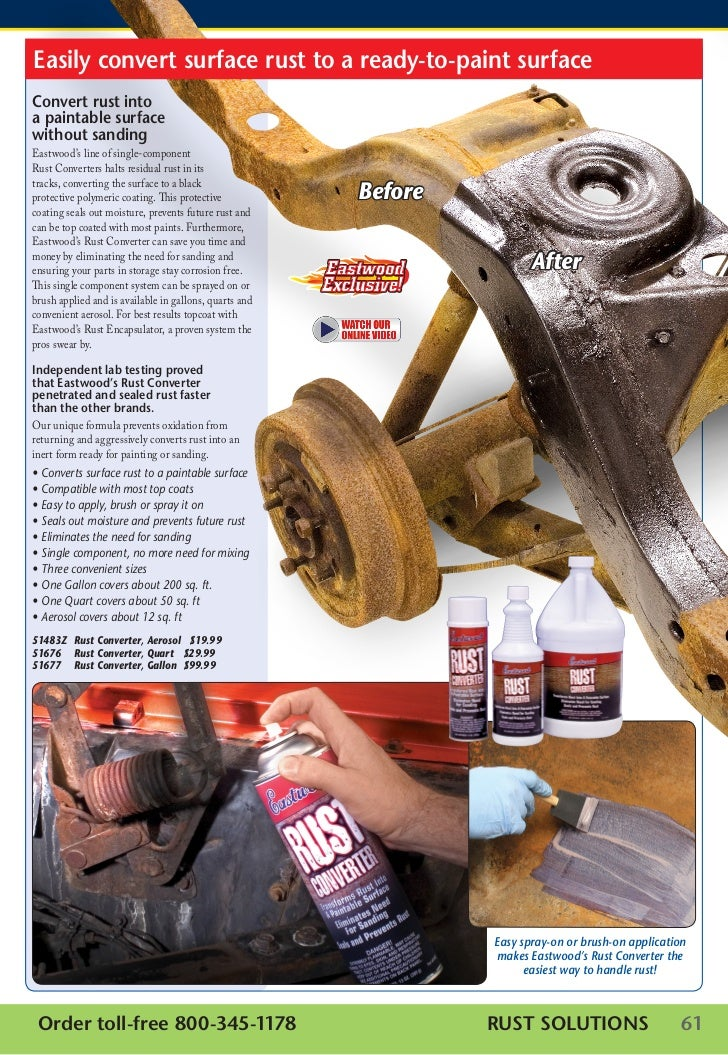 Easily convert surface rust to a ready-to-paint surfaceConvert rust intoa paintable surfacewithout sandingEastwood's line ...