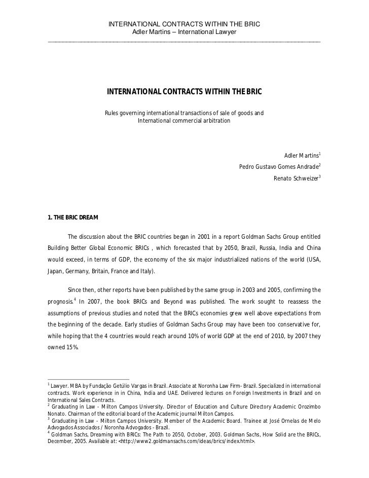 INTERNATIONAL CONTRACTS WITHIN THE BRIC                       Adler Martins – International Lawyer________________________...