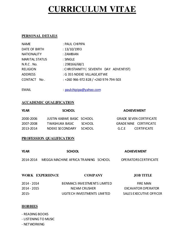 Curriculum Vitae Zambian Format