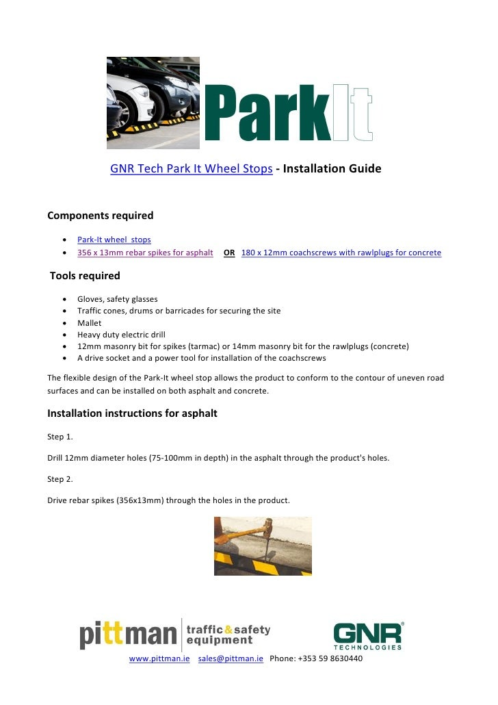 Pittman. ie - Park it wheel stop installation instructions