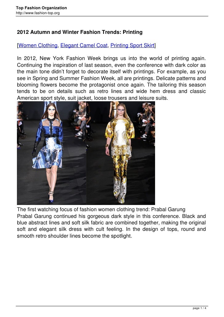 2012 Autumn and Winter Fashion Trends: Printing