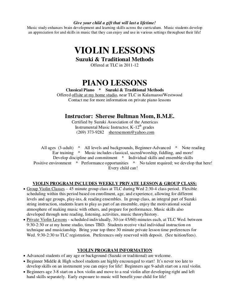 sherese violin piano lessons