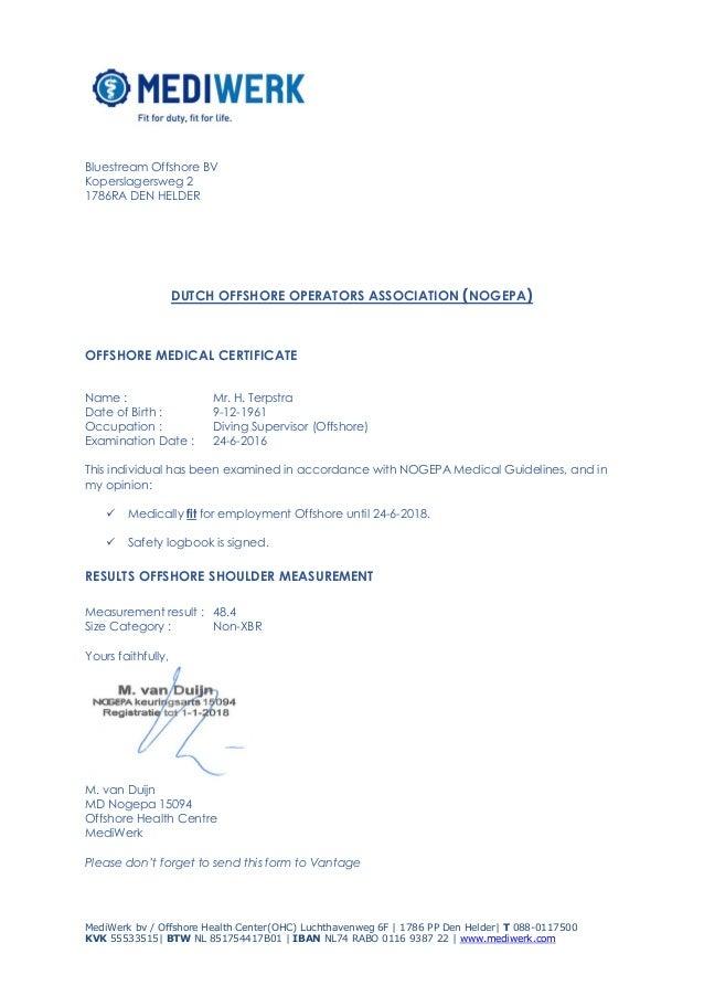 medical health certificate