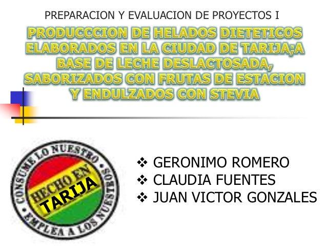 PREPARACION Y EVALUACION DE PROYECTOS I  GERONIMO ROMERO  CLAUDIA FUENTES  JUAN VICTOR GONZALES