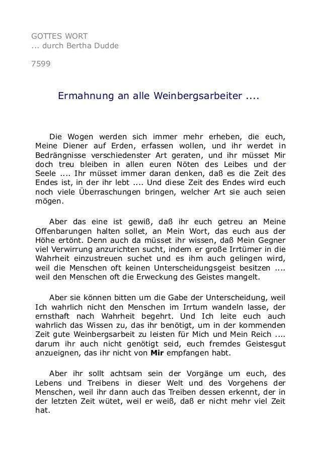 GOTTES WORT ... durch Bertha Dudde 7599 Ermahnung an alle Weinbergsarbeiter .... Die Wogen werden sich immer mehr erheben,...