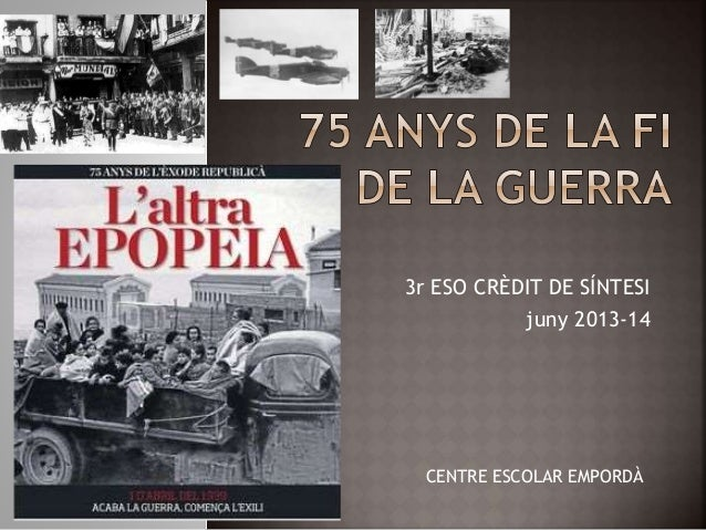 3r ESO CRÈDIT DE SÍNTESI juny 2013-14 CENTRE ESCOLAR EMPORDÀ