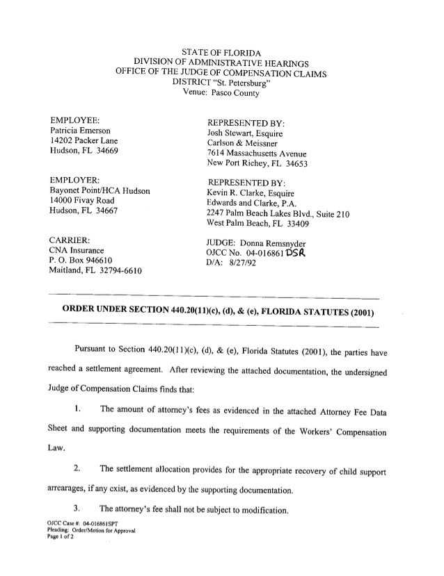 Emerson Settlement Order