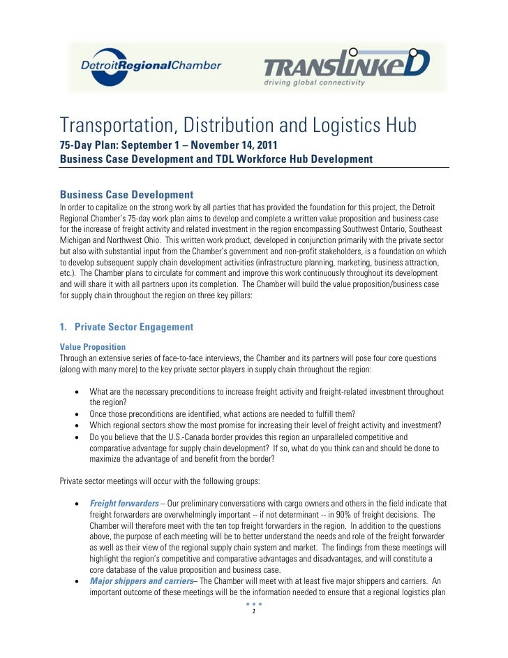 Transportation, Distribution and Logistics Hub75-Day Plan: September 1 – November 14, 2011Business Case Development and TD...