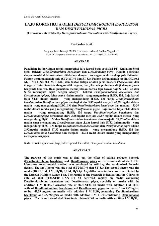 Dwi Suhartanti, Laju Korosi BajaLAJU KOROSI BAJA OLEH DESULFOMICROBIUM BACULATUM              DAN DESULFOMONAS PIGRA  (Cor...