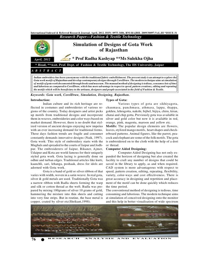 International Indexed & Referred Research Journal, April, 2012. ISSN- 0975-3486, RNI-RAJBIL 2009/30097;VoL.III *ISSUE-31  ...