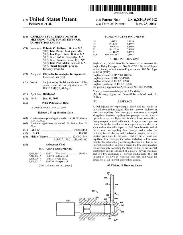 (12) United States Patent Pellizzari et al. (54) CAPILLARY FUEL INJECTOR WITH METERING VALVE FOR AN INTERNAL COMBUSTION EN...