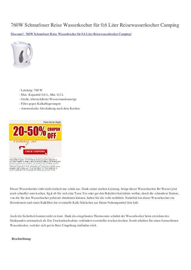 760W Schnurloser Reise Wasserkocher für 0,6 Liter Reisewasserkocher CampingDiscount!- 760W Schnurloser Reise Wasserkocher ...