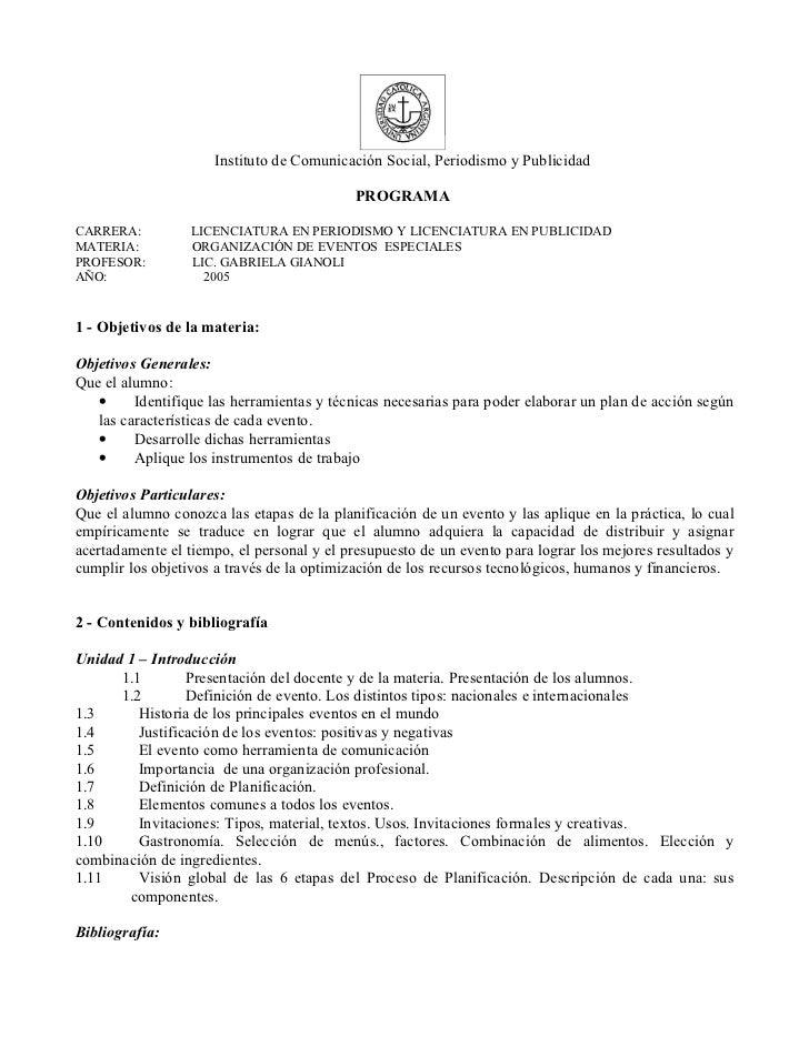 Instituto de Comunicación Social, Periodismo y Publicidad                                           PROGRAMACARRERA:      ...