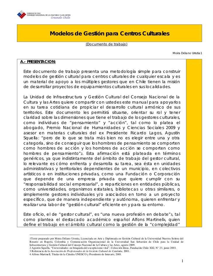 Modelos de Gestión para Centros Culturales                                                   (Documento de trabajo)       ...