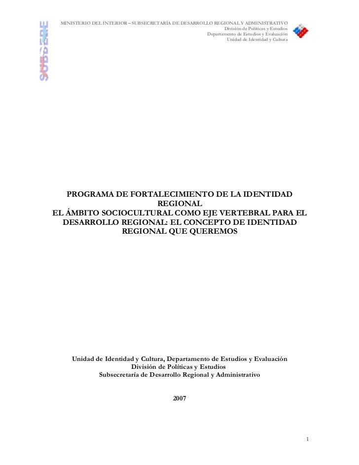 MINISTERIO DEL INTERIOR – SUBSECRETARÍA DE DESARROLLO REGIONAL Y ADMINISTRATIVO                                           ...