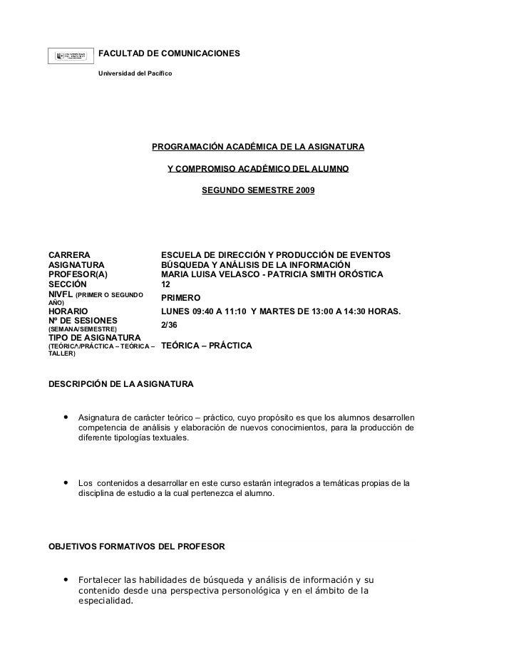FACULTAD DE COMUNICACIONES             Universidad del Pacífico                              PROGRAMACIÓN ACADÉMICA DE LA ...