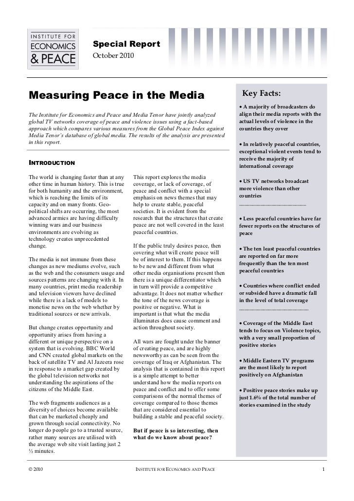 Special Report                            October 2010Measuring Peace in the Media                                        ...