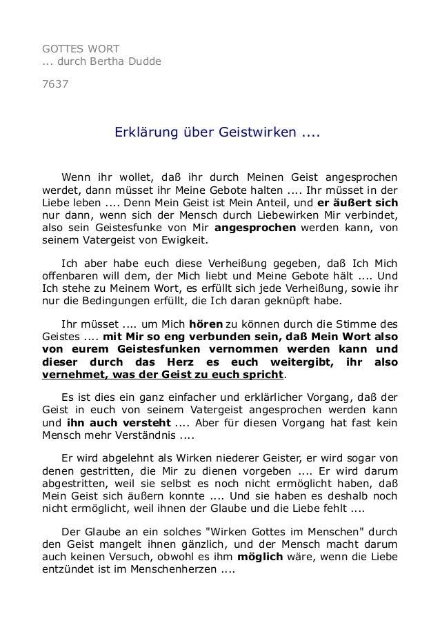 GOTTES WORT ... durch Bertha Dudde 7637 Erklärung über Geistwirken .... Wenn ihr wollet, daß ihr durch Meinen Geist angesp...