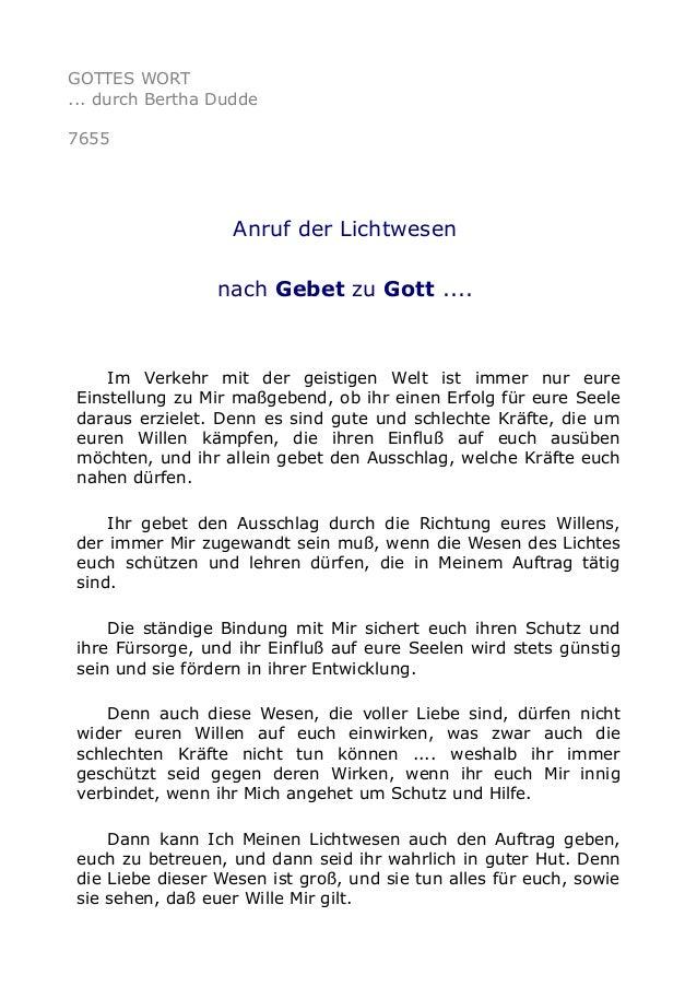 GOTTES WORT ... durch Bertha Dudde 7655 Anruf der Lichtwesen nach Gebet zu Gott .... Im Verkehr mit der geistigen Welt ist...