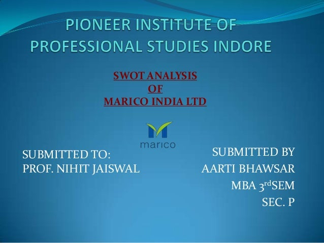 SWOT ANALYSIS                   OF             MARICO INDIA LTDSUBMITTED TO:                SUBMITTED BYPROF. NIHIT JAISWA...