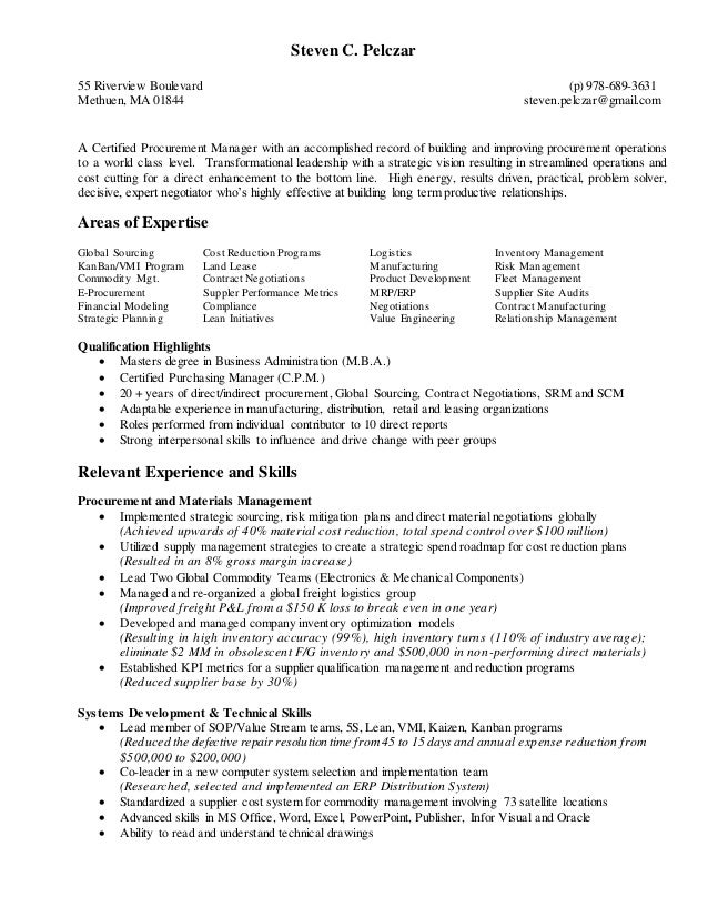 2016 procurement and scm resume