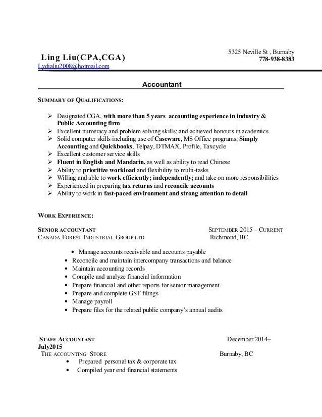 Cga accountant resume
