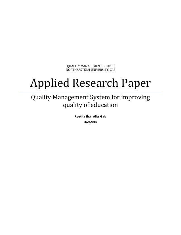 Research paper about management