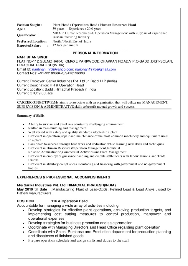 CV for Plant Head-NBS