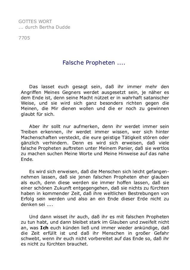 GOTTES WORT ... durch Bertha Dudde 7705 Falsche Propheten .... Das lasset euch gesagt sein, daß ihr immer mehr den Angriff...