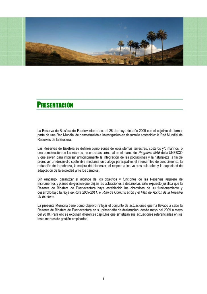 Reserva Biosfera Fuerteventura memoria anual 2009-2011