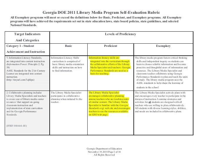 Library Media Program Self-Evaluation
