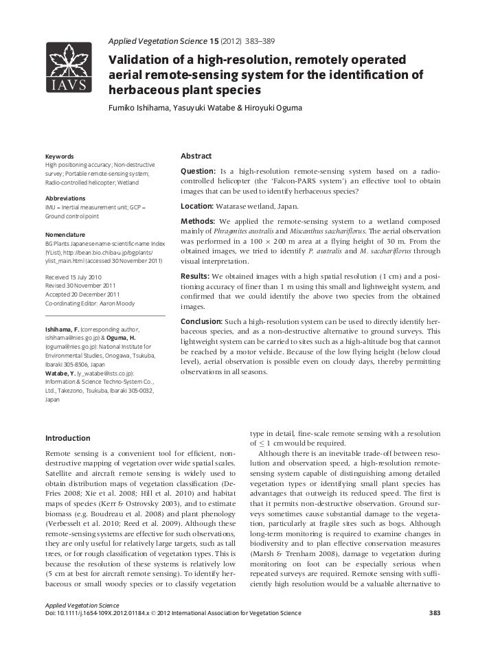 Validation of a high-resolution, remotely operated aerial remote-sensing system for the identification of herbaceous plant species