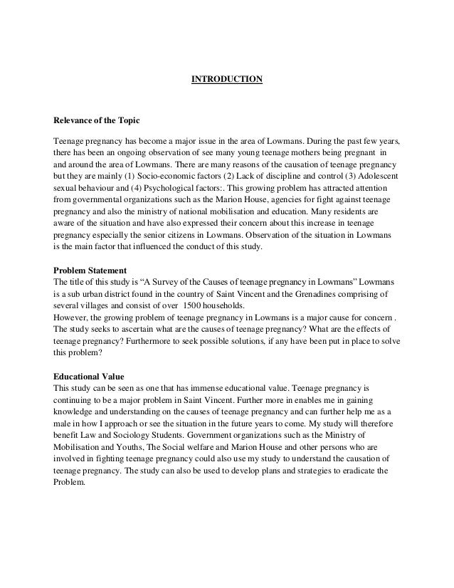 Teen Pregnancy Essay