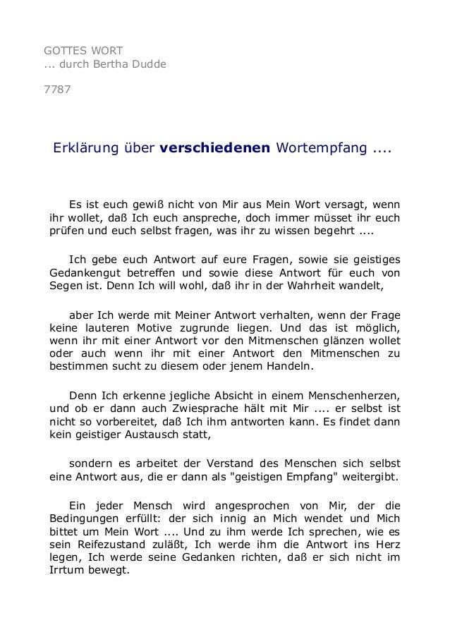GOTTES WORT ... durch Bertha Dudde 7787 Erklärung über verschiedenen Wortempfang .... Es ist euch gewiß nicht von Mir aus ...