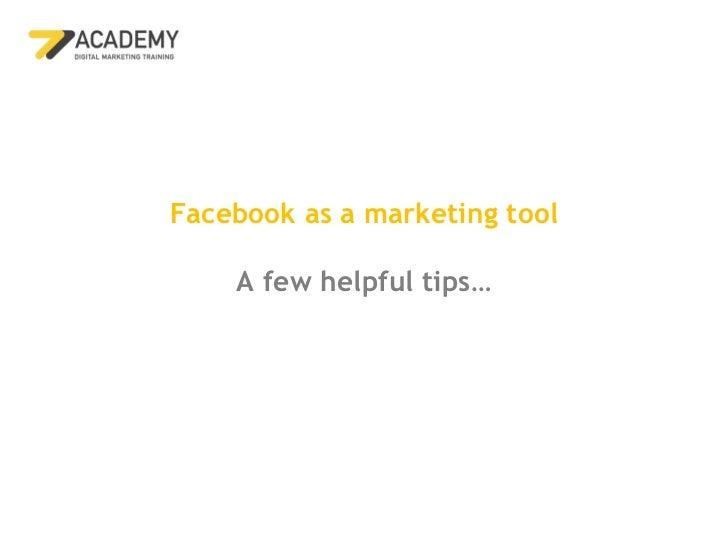 77 academy facebook marketing tips