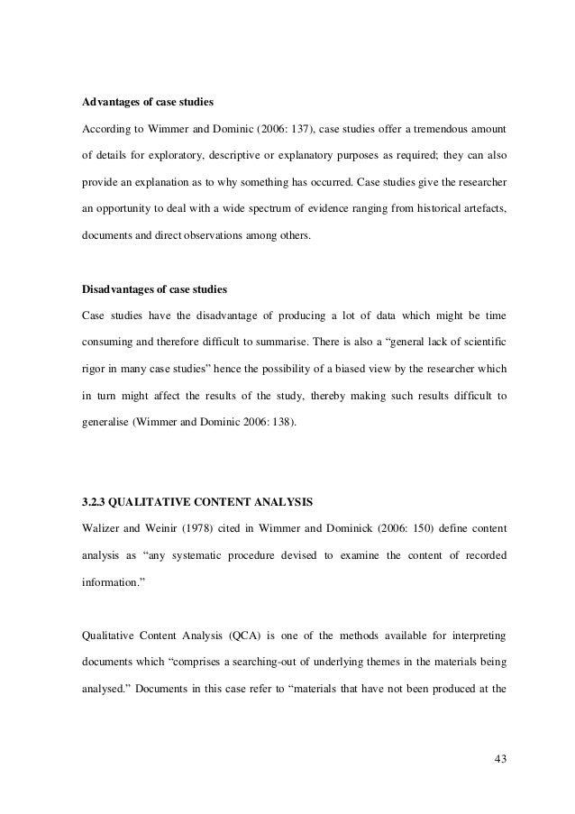Advantages of case study dissertation