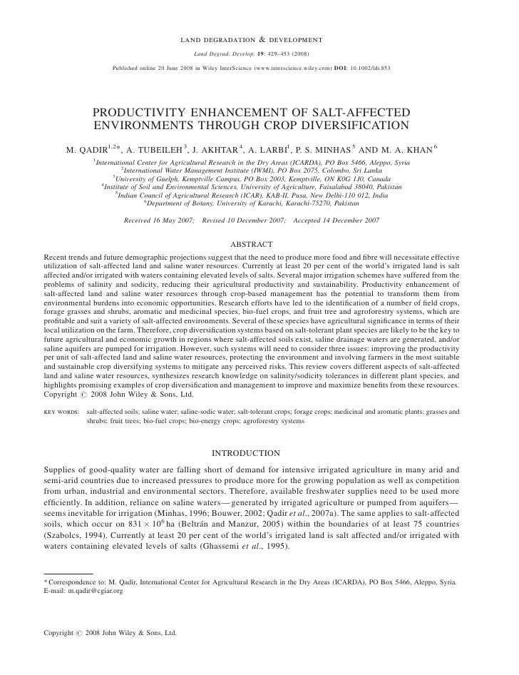 Productivity Enhancement Of Salt-Affected Environments Through Crop Diversification