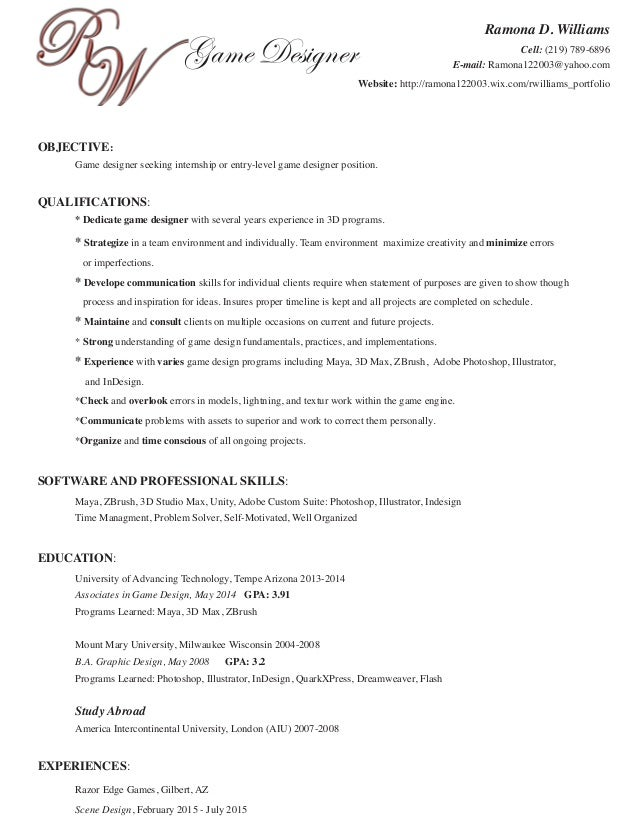 Ramona's Resume Game Design