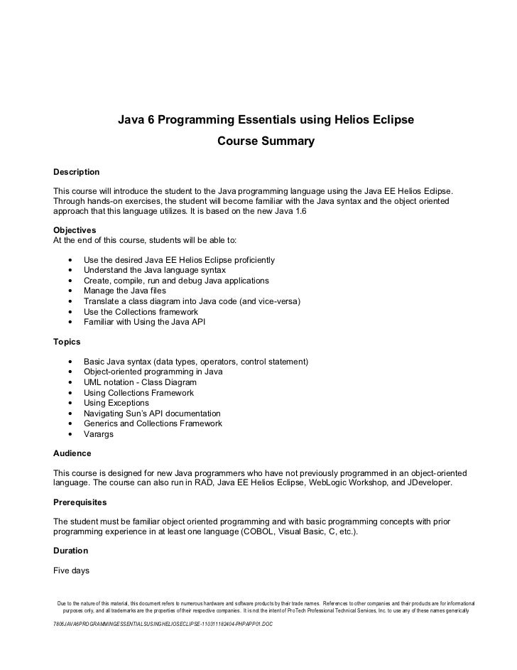 7806 java 6 programming essentials using helios eclipse