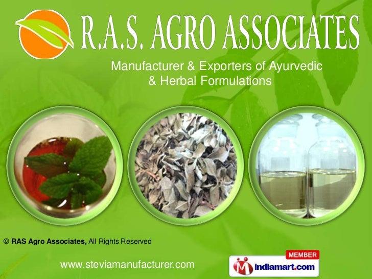 Manufacturer & Exporters of Ayurvedic                                   & Herbal Formulations© RAS Agro Associates, All Ri...