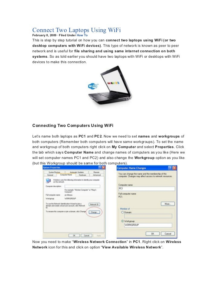 connect two laptops using wi fi