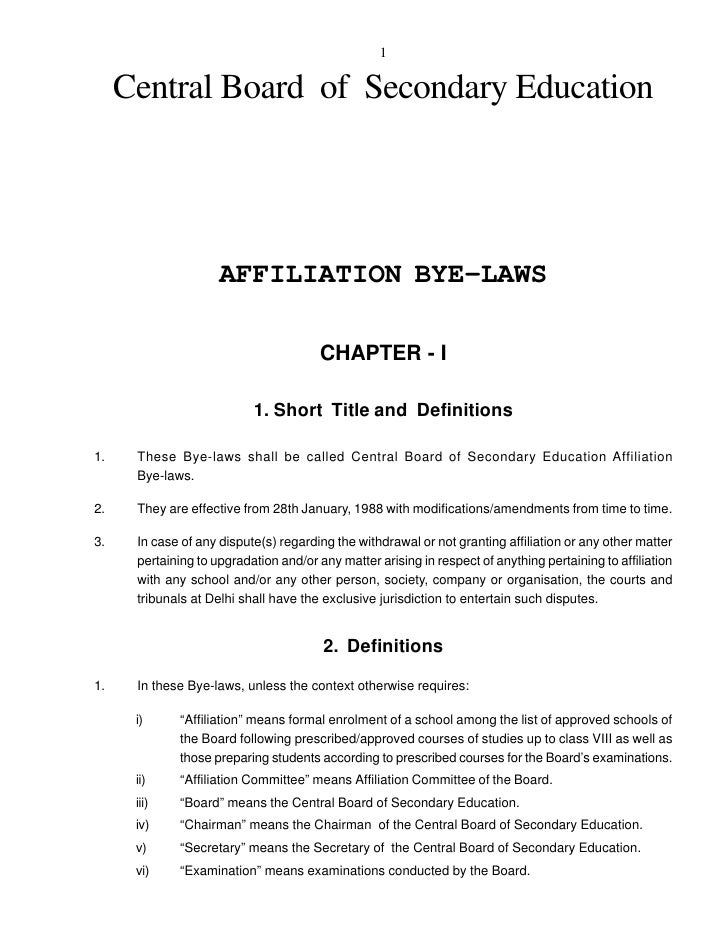 1     Central Board of Secondary Education                     AFFILIATION BYE-LAWS                                       ...