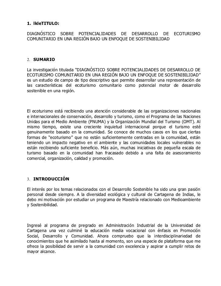 1. lkleTITULO:DIAGNÓSTICO SOBRE POTENCIALIDADES DE DESARROLLO DE                          ECOTURISMOCOMUNITARIO EN UNA REG...