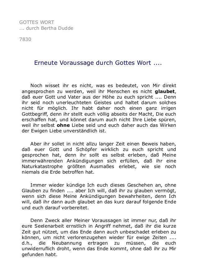GOTTES WORT ... durch Bertha Dudde 7830 Erneute Voraussage durch Gottes Wort .... Noch wisset ihr es nicht, was es bedeute...