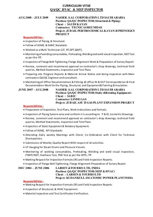 resume for quality control inspector