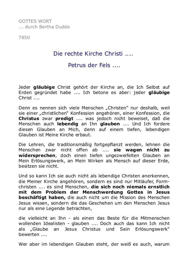 GOTTES WORT ... durch Bertha Dudde 7850 Die rechte Kirche Christi .... Petrus der Fels .... Jeder gläubige Christ gehört d...