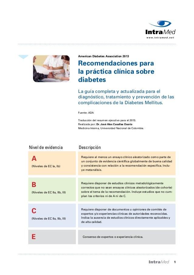 Recomendaciones para la practica clínica de la diabetes 2013