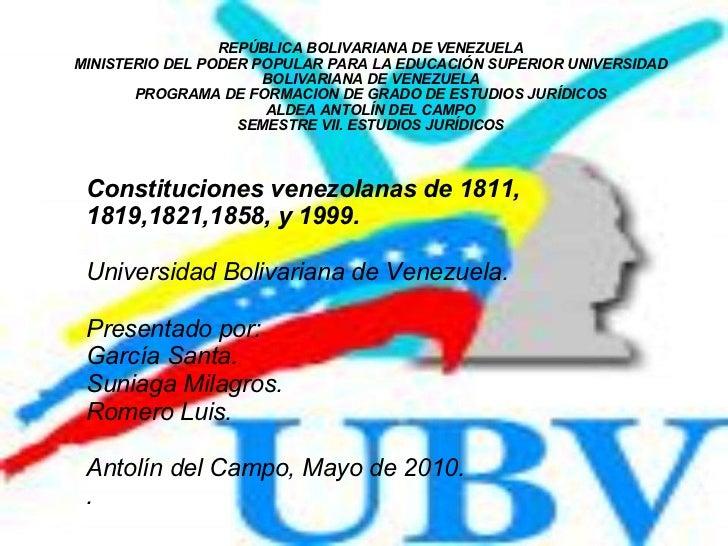 REPÚBLICA BOLIVARIANA DE VENEZUELA MINISTERIO DEL PODER POPULAR PARA LA EDUCACIÓN SUPERIOR UNIVERSIDAD BOLIVARIANA DE VENE...