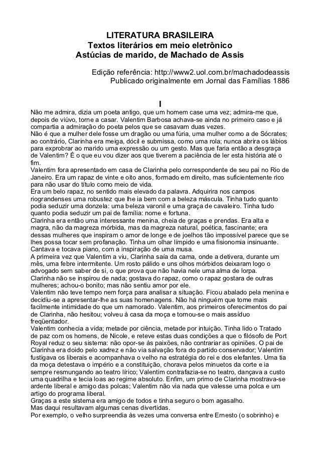 LITERATURA BRASILEIRA                 Textos literários em meio eletrônico               Astúcias de marido, de Machado de...