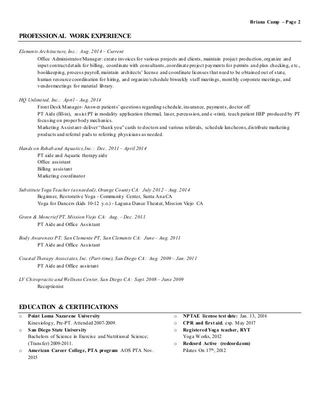 Physical Therapist AIDE Resume Example Eager World